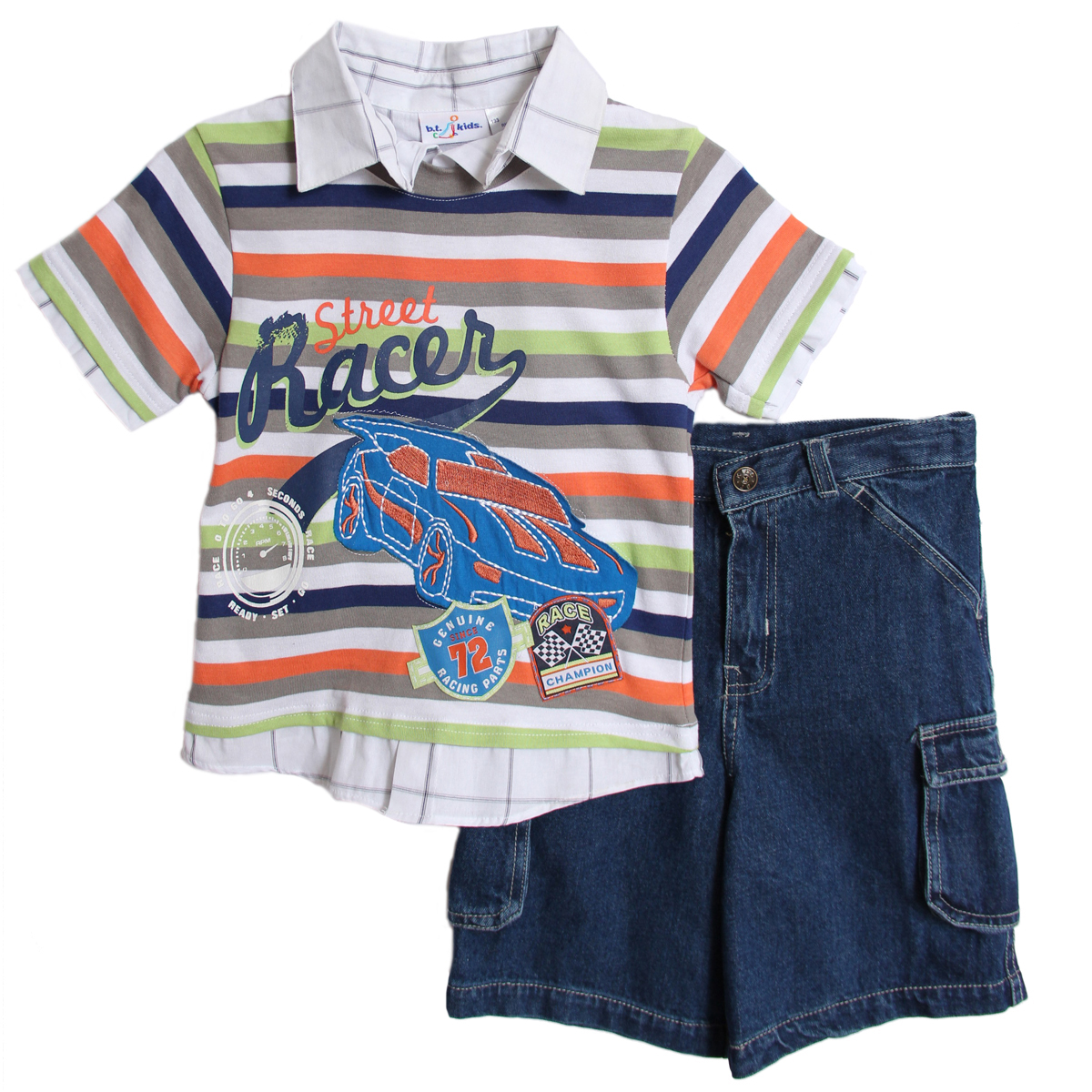 B. T. Kids Boys 2 Piece Striped Layered Blue Green Orange Shirt Denim Jean Shorts at Sears.com