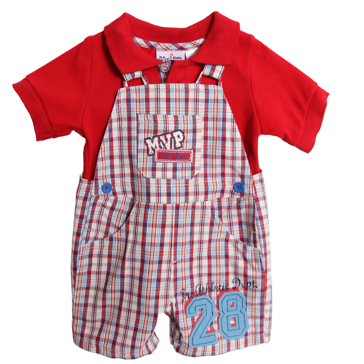B. T. Kids Newborn Boys 2 Piece Red Polo Shirt Blue Plaid Overalls Shorts Shortalls at Sears.com