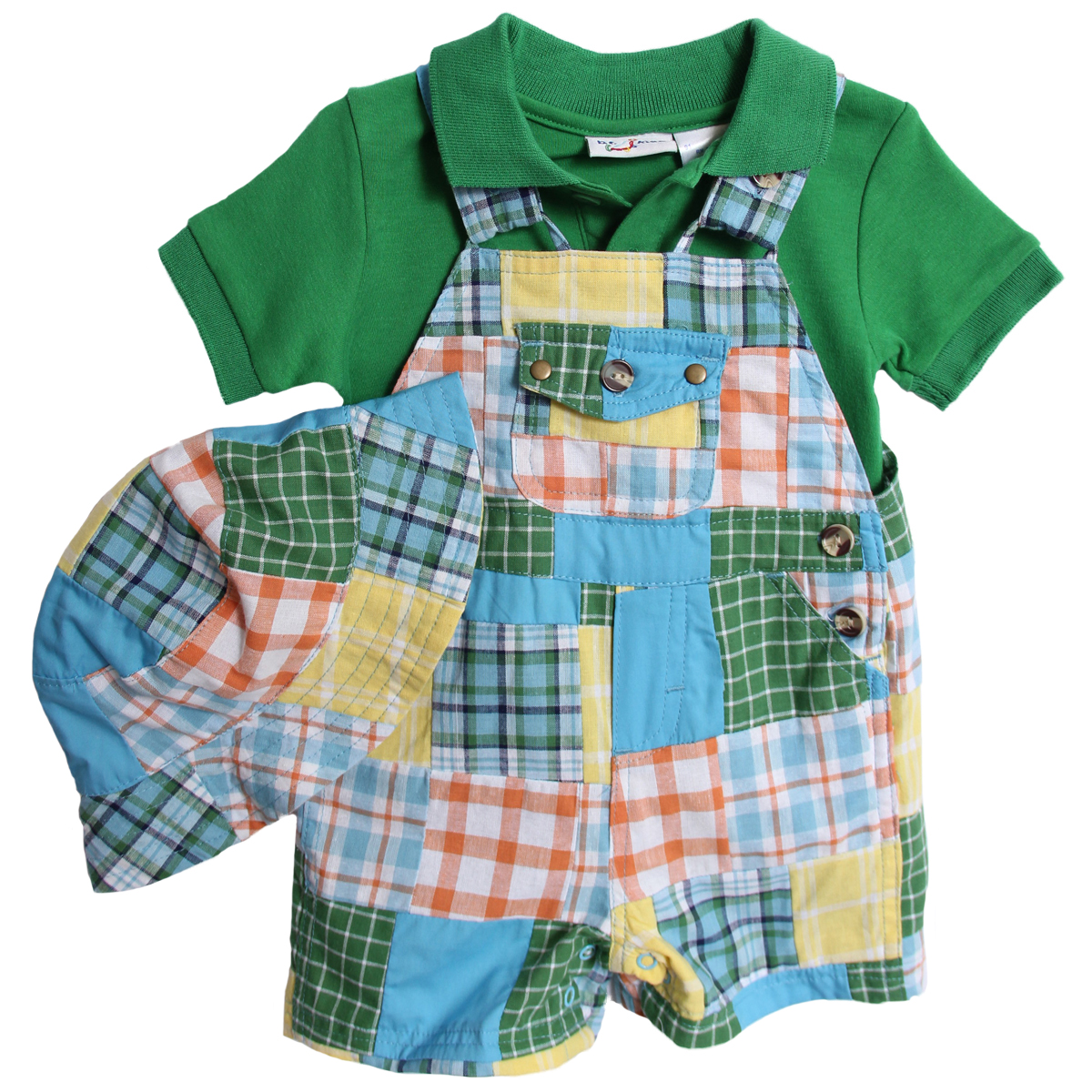 B. T. Kids Newborn Boy 3 Piece Green Polo Shirt Plaid Patchwork Overalls Shorts Hat at Sears.com