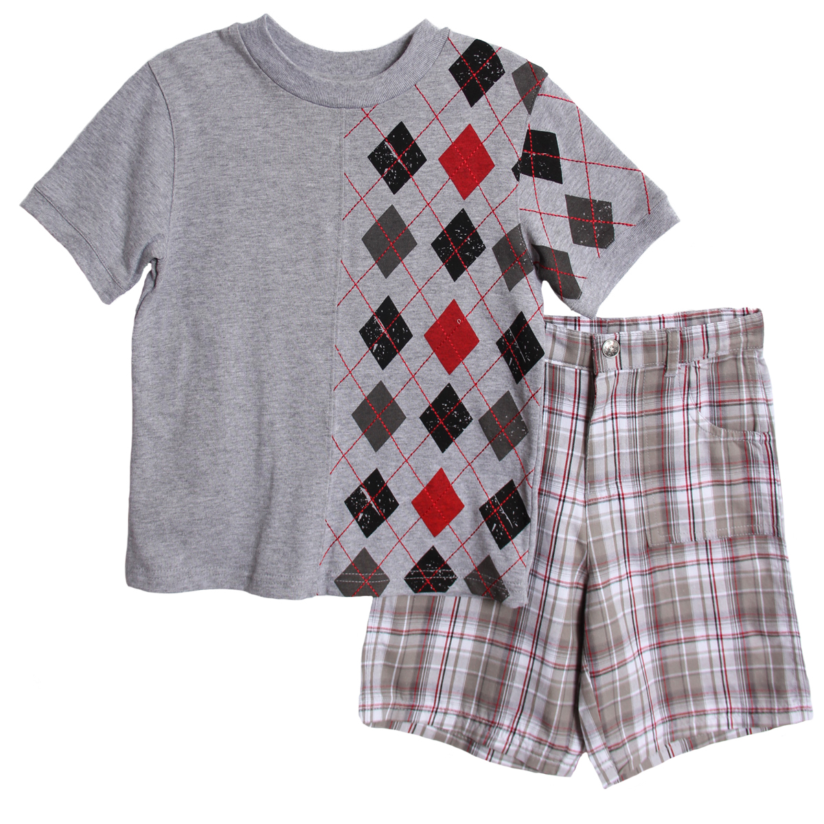 B. T. Kids Boys 2 Piece Gray Red Argyle T-shirt Plaid Shorts Summer Set at Sears.com