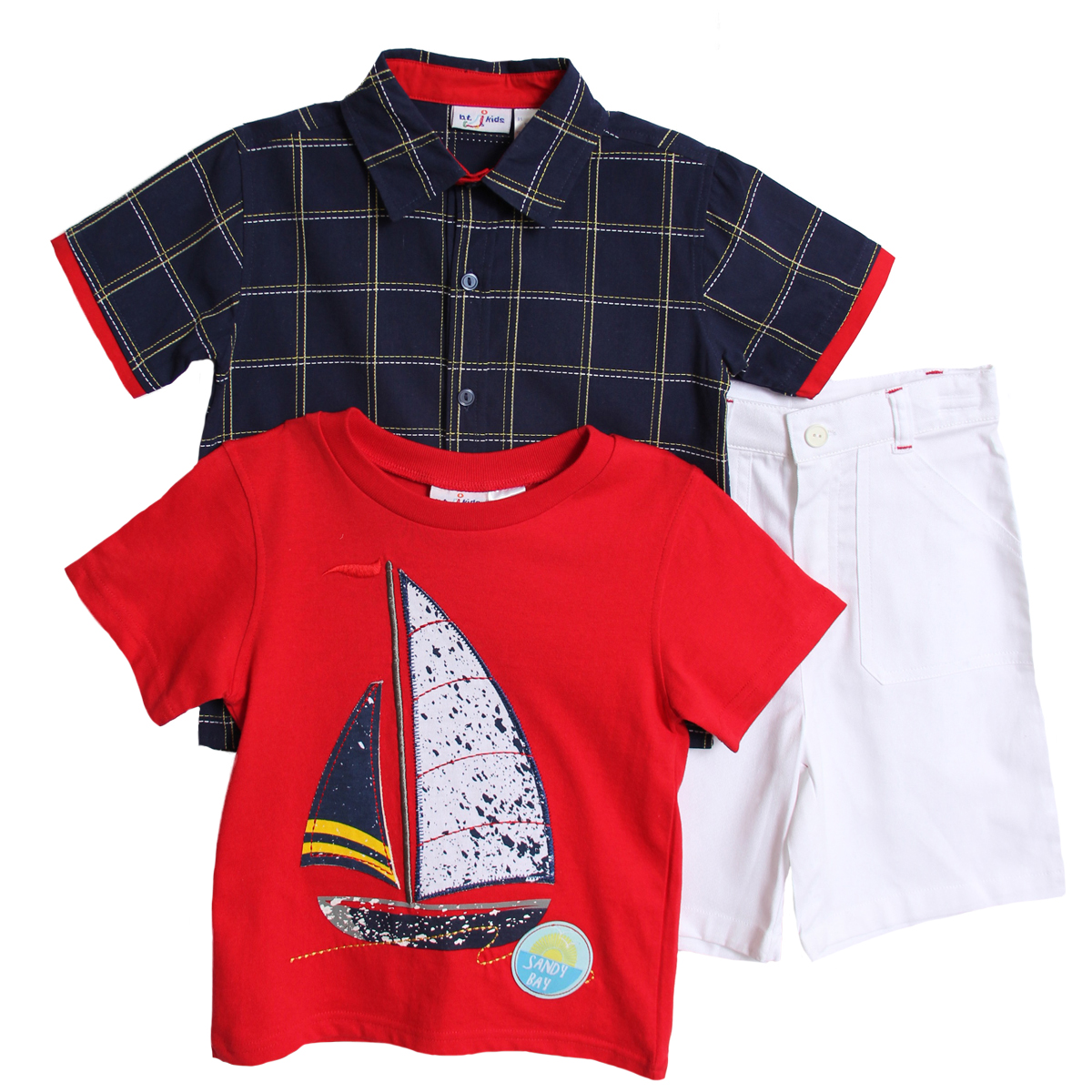 B. T. Kids Boys (4-7) 3 pc navy plaid shirt, red tshirt and white shorts set at Sears.com