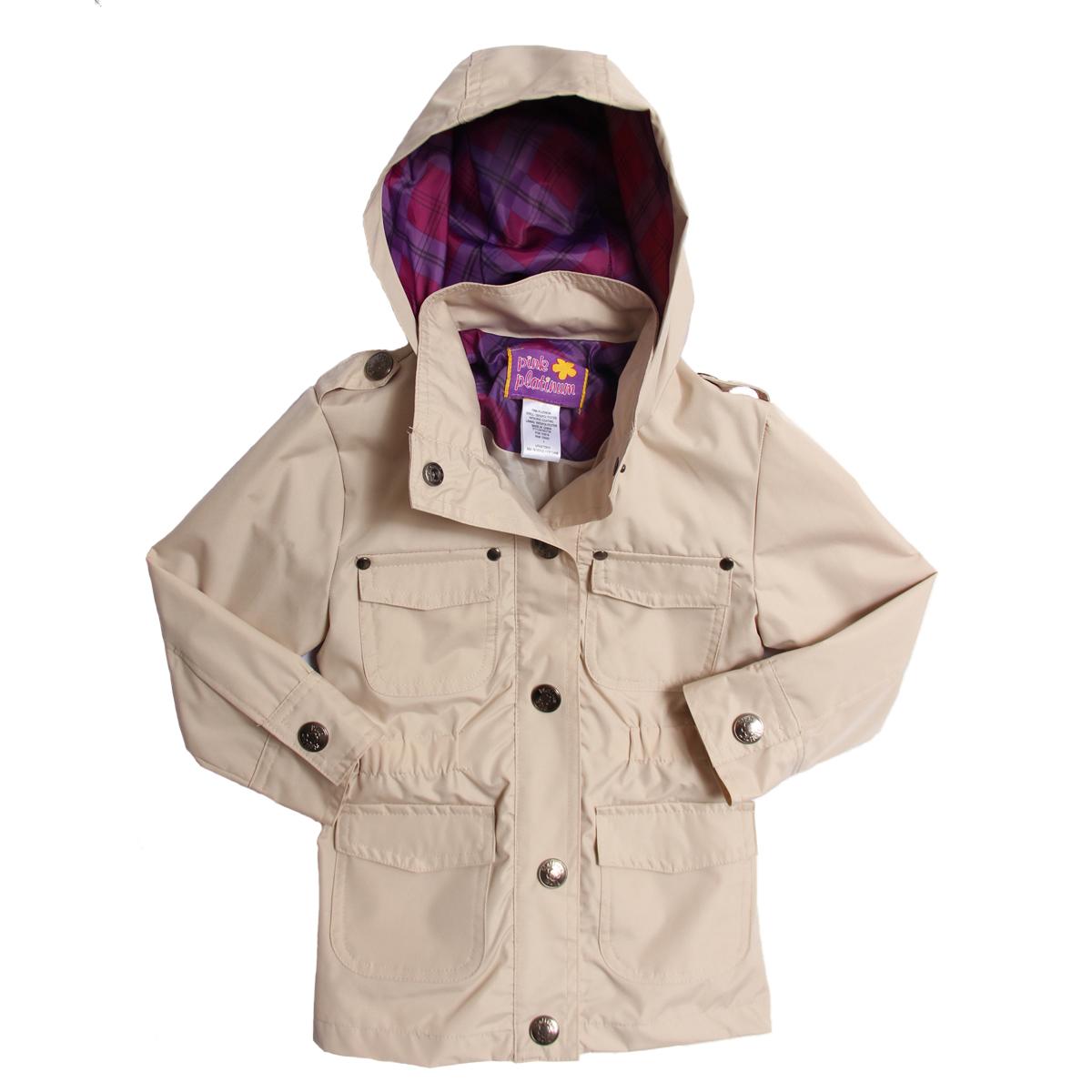 Pink Platinum Kid Girls Khaki Hooded Spring All Weather Lined Safari Jacket at Sears.com