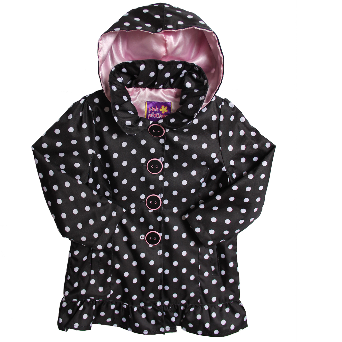Pink Platinum Kid Girls Black White Polka Dot Hooded Raincoat Spring Jacket at Sears.com