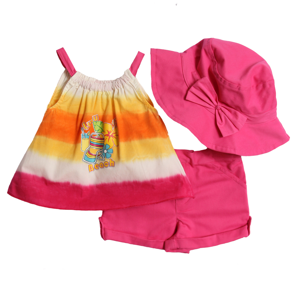 B.T. Kids Newborn Baby Girls 3 Piece Hot Pink Tank Top and Shorts Set with Sun Hat at Sears.com