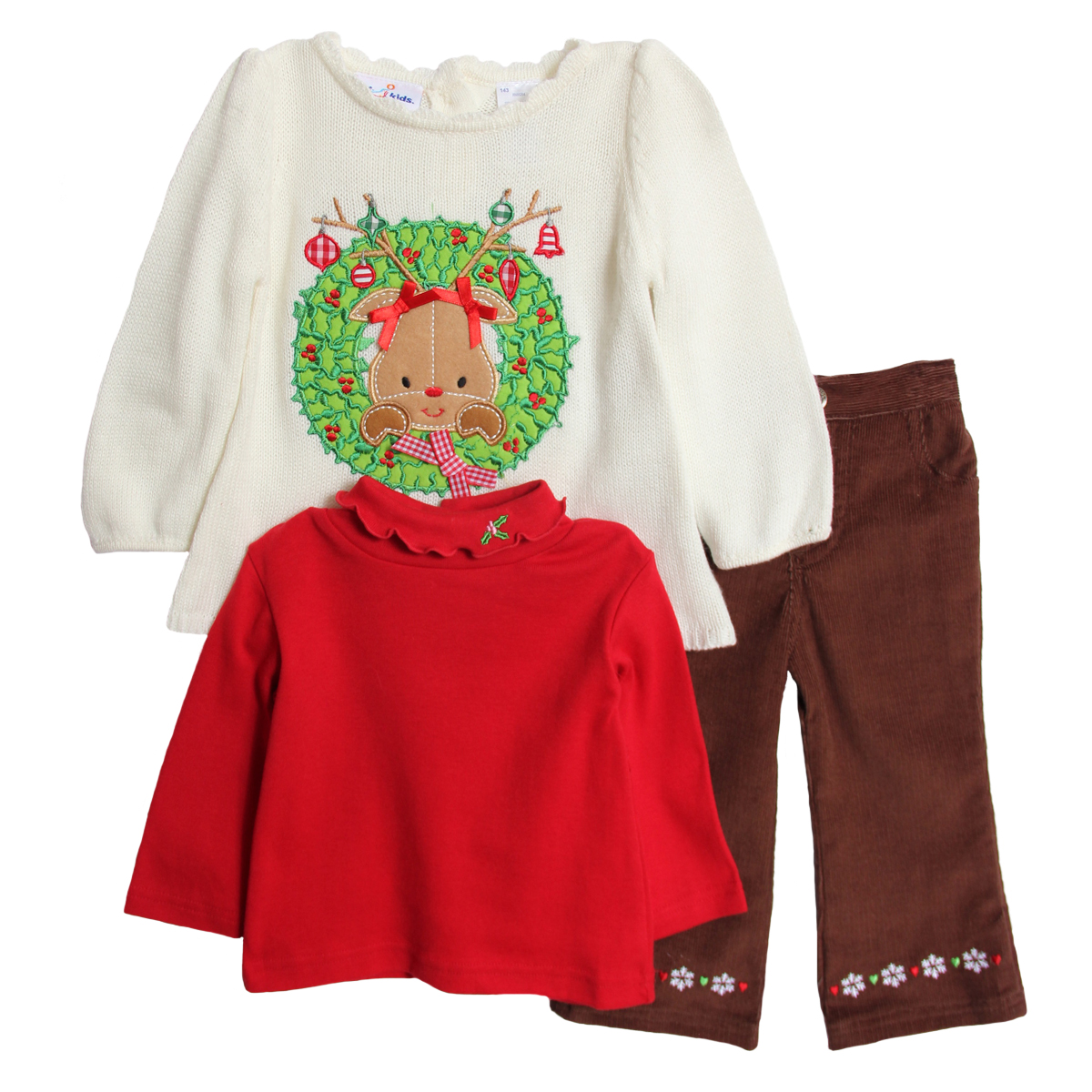 B.T. Kids Newborn Baby Girls 3 Piece Christmas Sweater Turtleneck Corduroy Pants at Sears.com