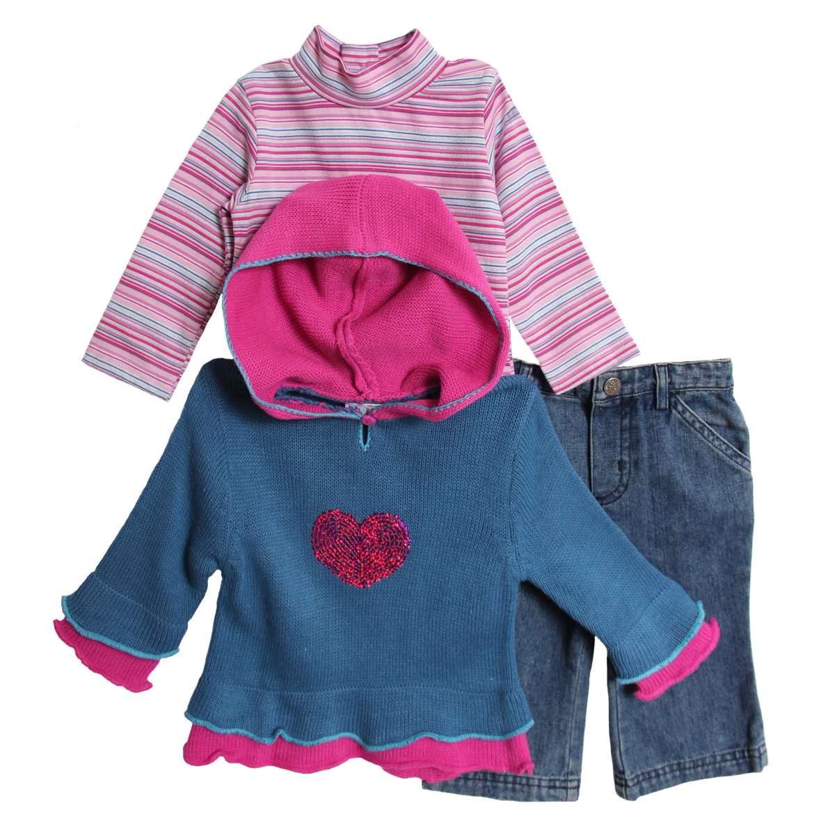 B.T. Kids Newborn Baby Girls 3 Piece Blue Knit Hooded Sweater Turtleneck Jeans Set at Sears.com