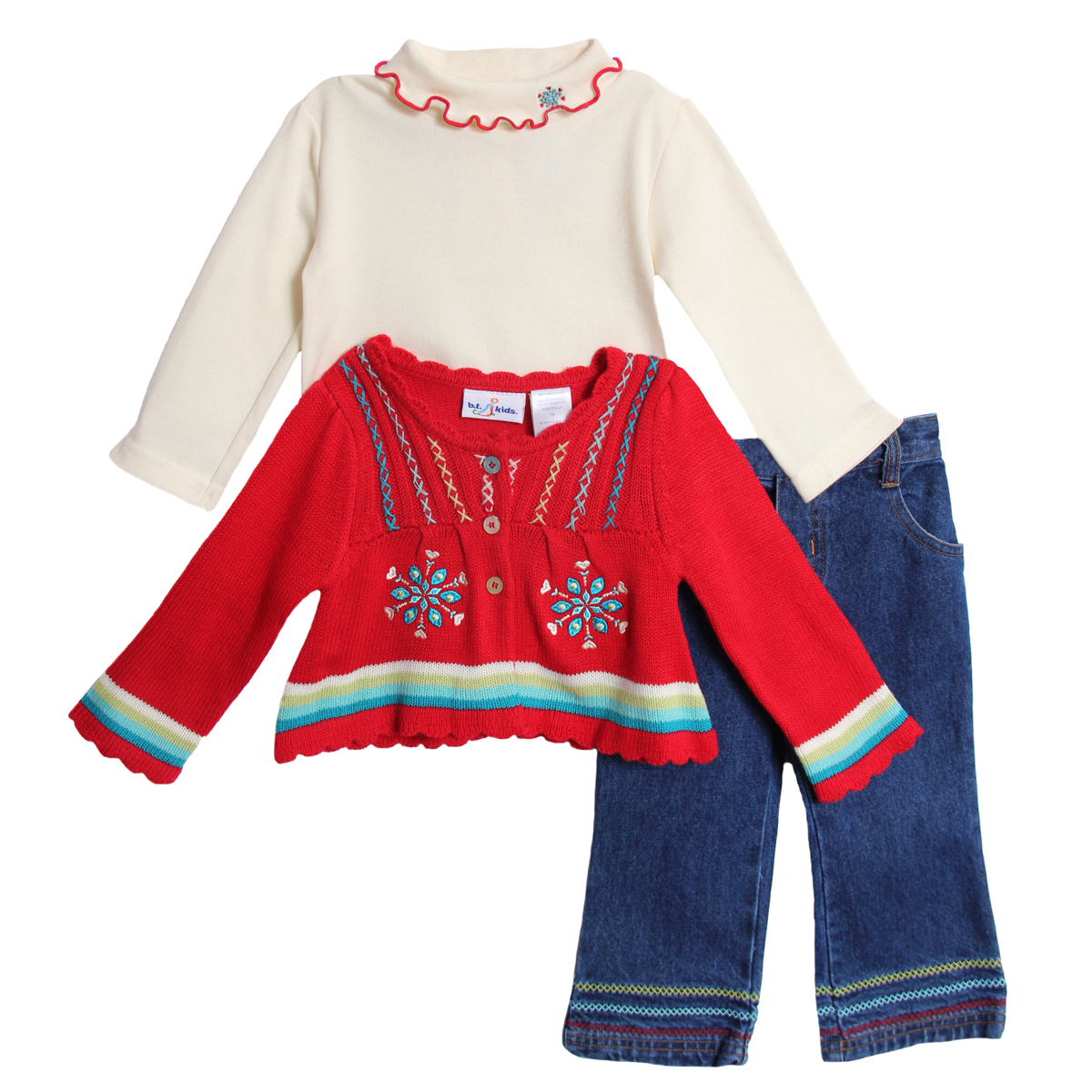 B.T. Kids Infant Baby Girls 3 Piece Red Winter Sweater Turtleneck Jeans Pants Set at Sears.com