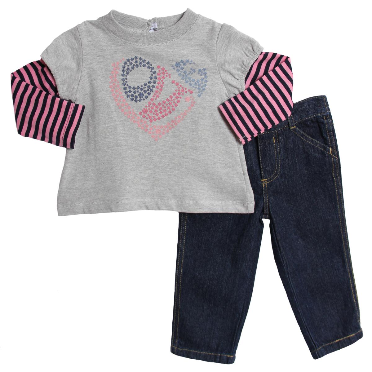 Baby Togs Baby Girls' 2 Piece Gray Pink Top Dark Denim Jeans Pants Set