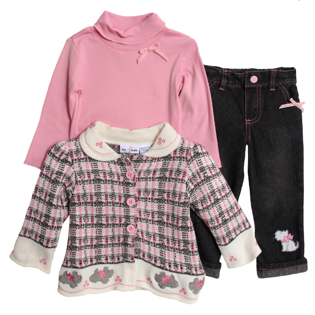 B.T. Kids Infant Baby Girls 3 Piece Pink Plaid Knit Sweater Turtleneck Jeans Set at Sears.com