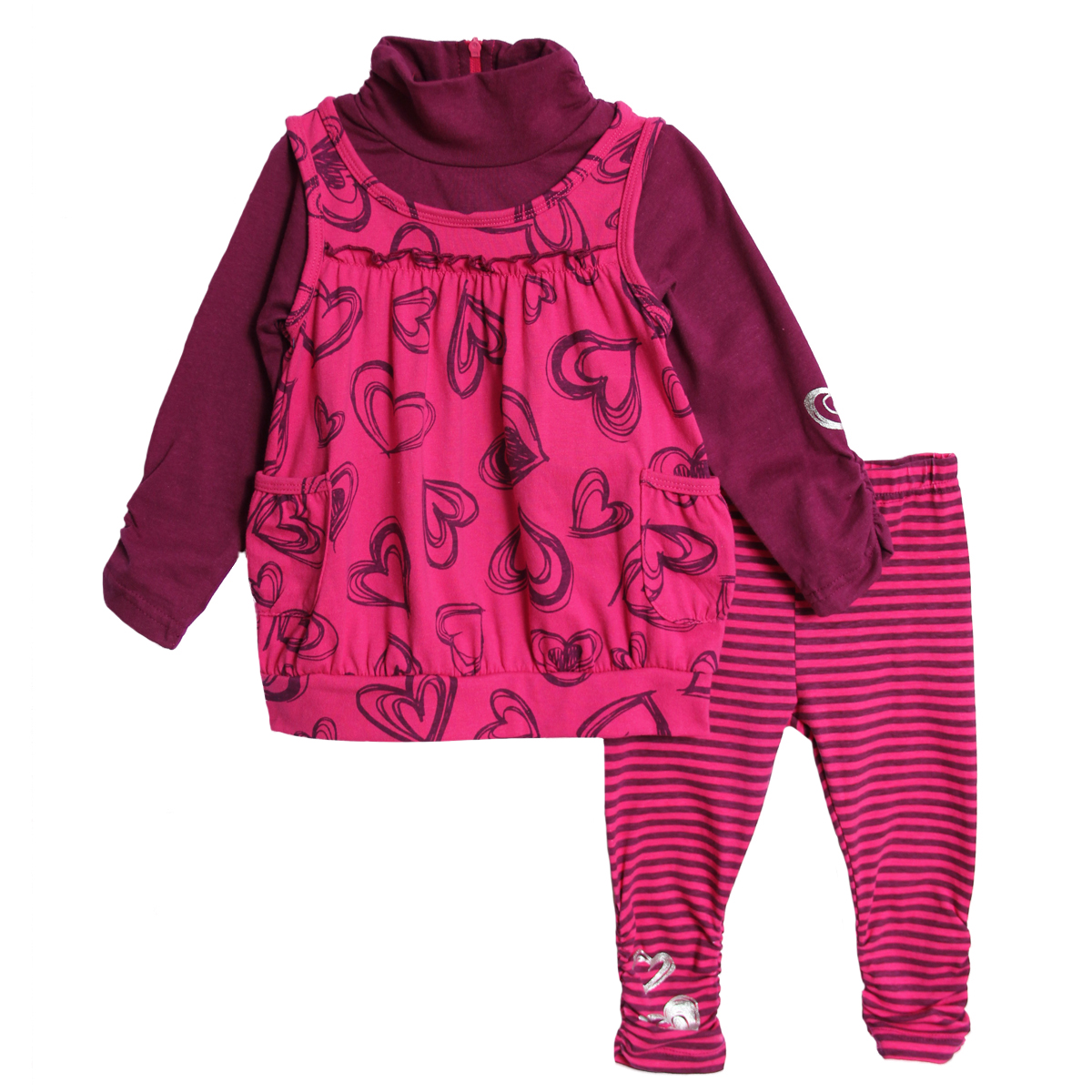 B.T. Kids Infant Baby Girls 2 Piece Pink Purple Turtleneck Tunic Top Leggings Set at Sears.com