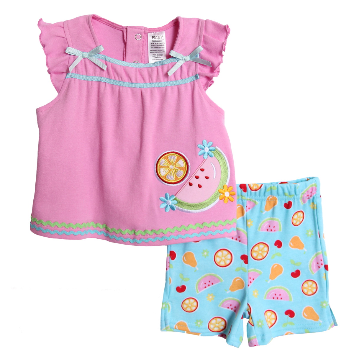 Baby Essentials Newborn Girls 2 Piece Pink Top Blue Fruit Knit Shorts Set at Sears.com