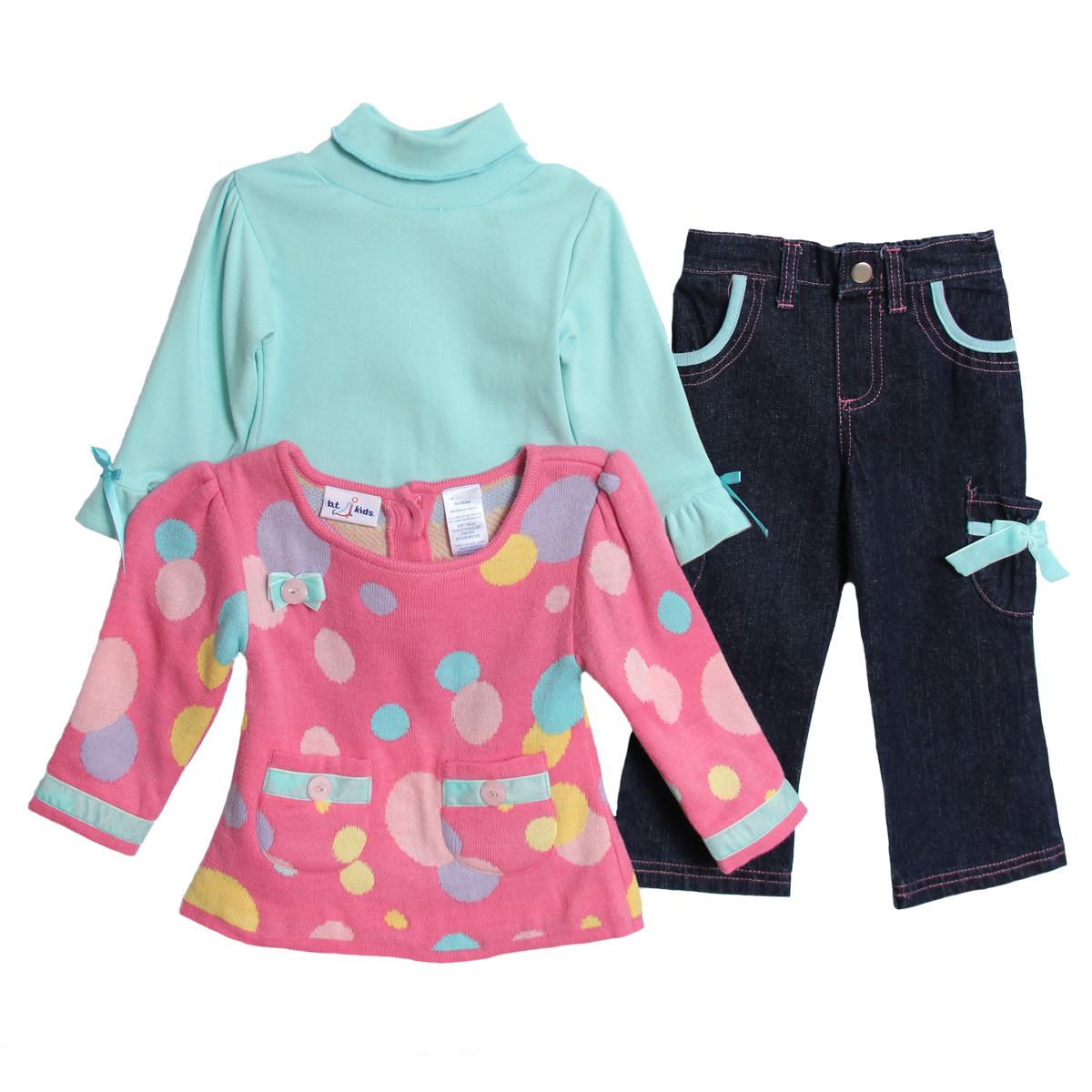 B.T. Kids Infant Baby Girls 3 Piece Pink Polka Dot Sweater Turtleneck Pants Set at Sears.com