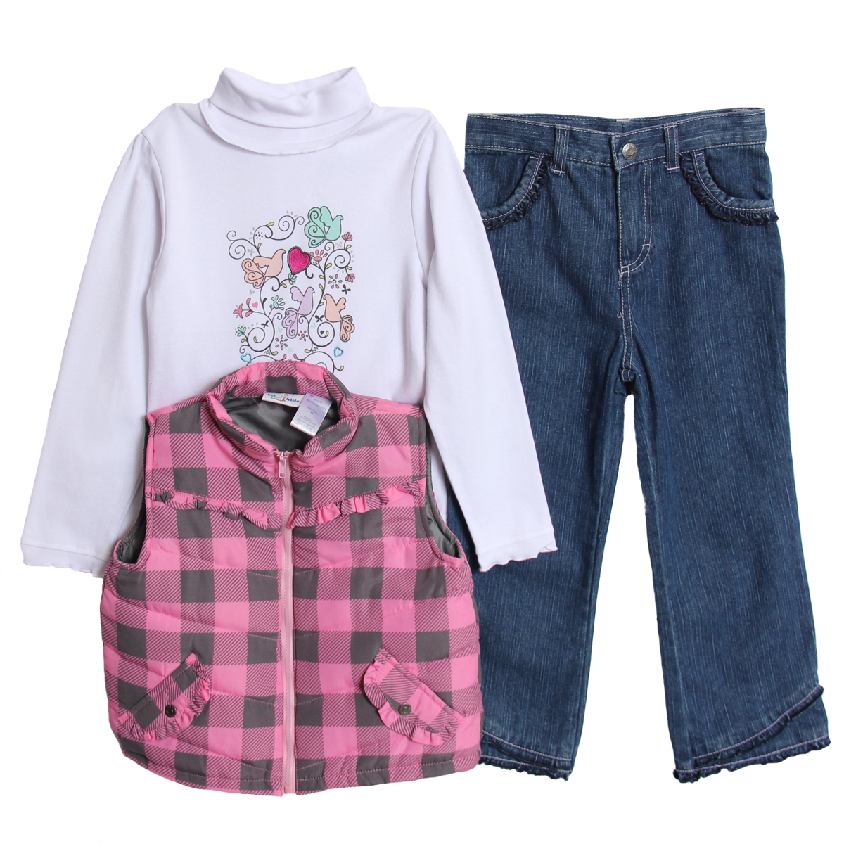 B.T. Kids Toddler Girls 3 Piece Pink Plaid Puffy Vest Turtleneck Jeans Pants Set at Sears.com