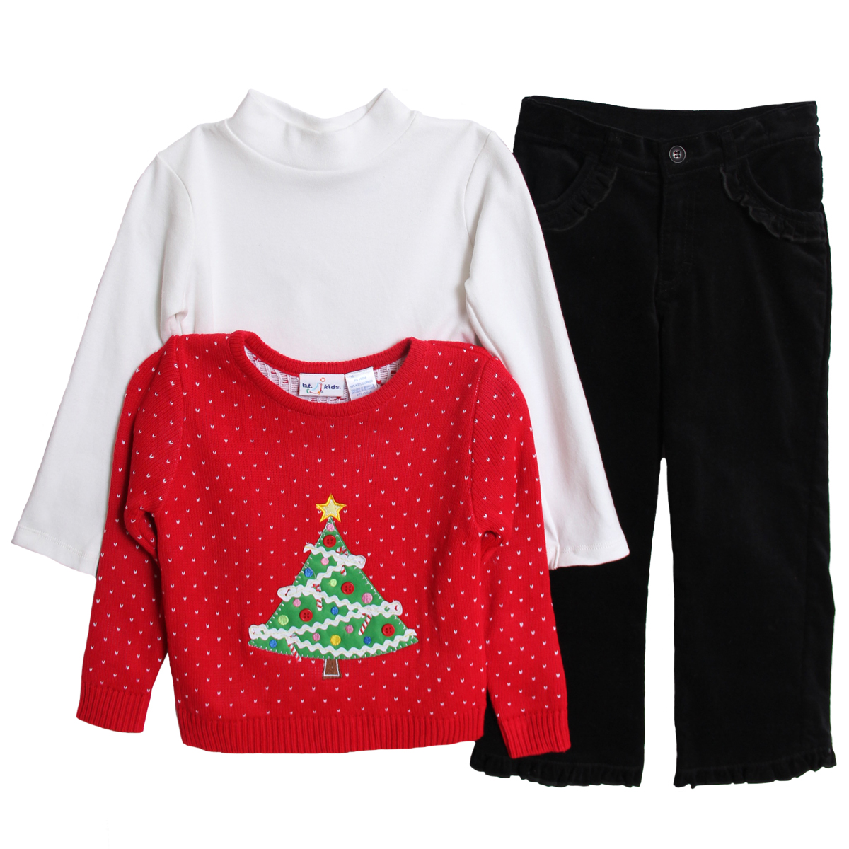B.T. Kids Little Girls 3 Piece Christmas Holiday Sweater Turtleneck Corduroy Pants at Sears.com