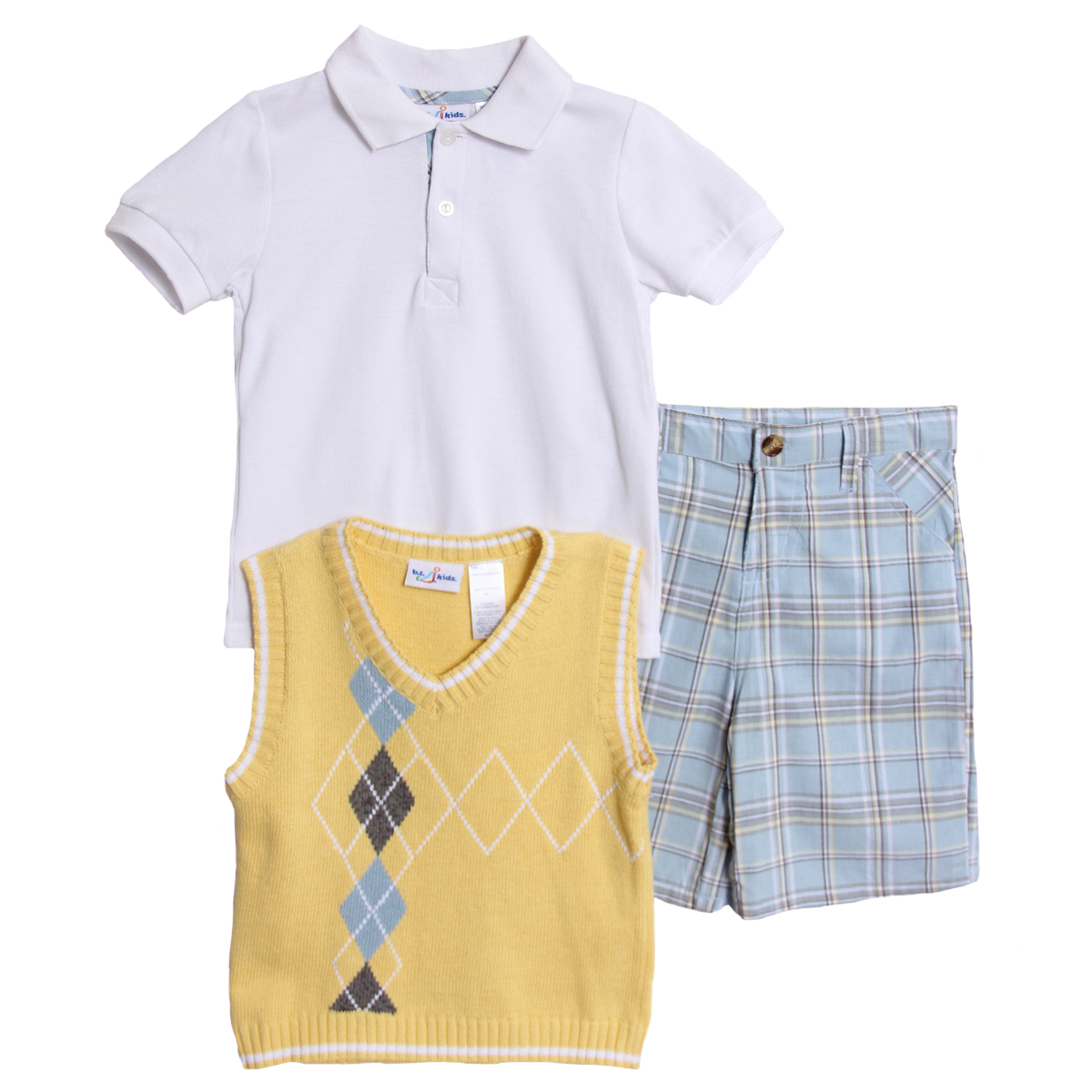 Bt kids infant baby boys 3 piece argyle sweater vest polo for Polo shirt with undershirt