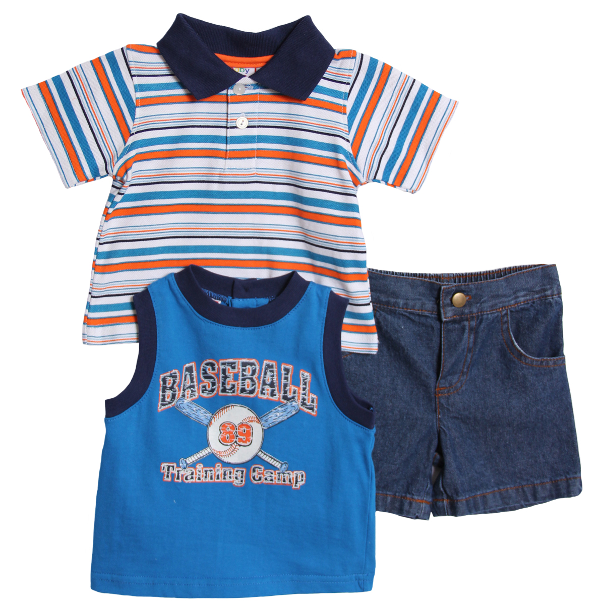 Baby Togs Newborn Boys 3 Piece Blue Baseball Tank Top Striped Polo Denim Shorts at Sears.com