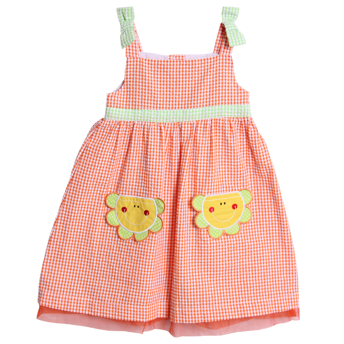 Baby Togs Little Girls 1 Piece Orange Green Seersucker Sundress Sunshine Dress at Sears.com