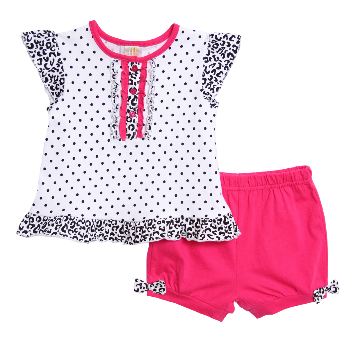 Absorba Infant Baby Girls 2 Piece Hot Pink Black Polka Dot Leopard Top Shorts at Sears.com