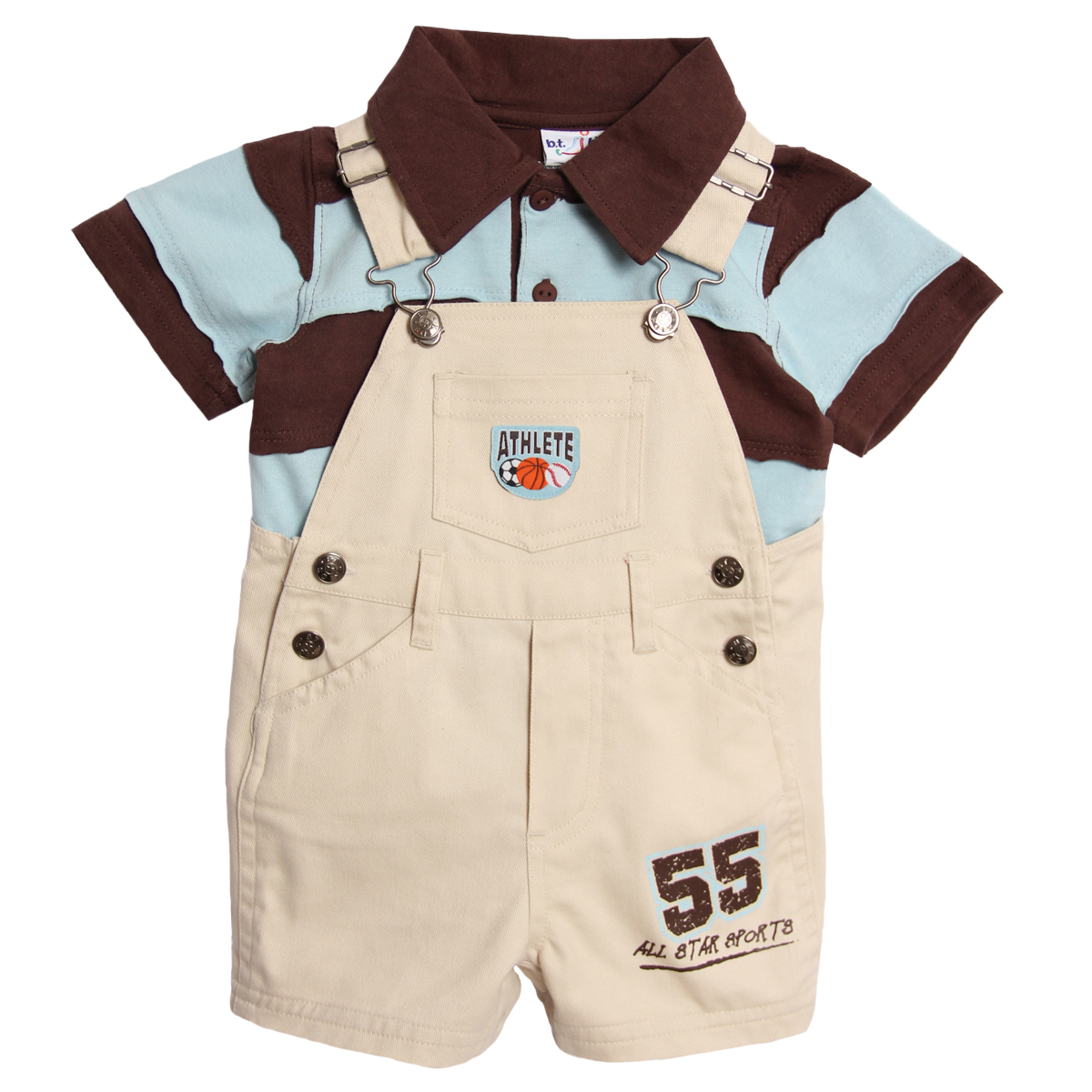B.T. Kids  Newborn Baby Boys 2 Piece Khaki Overalls Shorts Striped