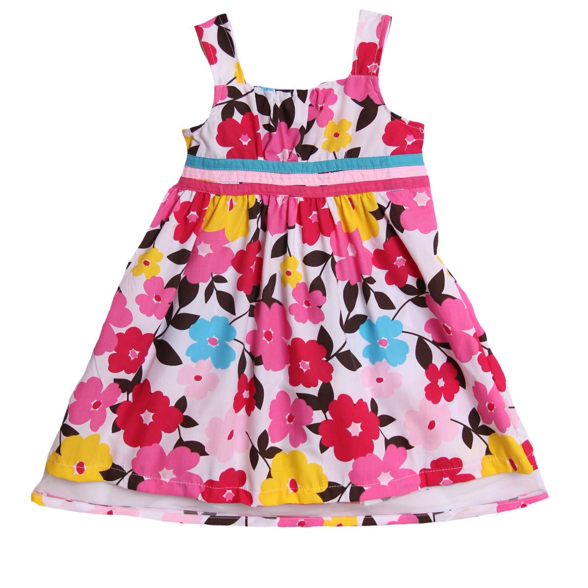 Sugah and Honey Little Girls' 1 Piece Pink Floral Print Summer Sundress Dress at Sears.com