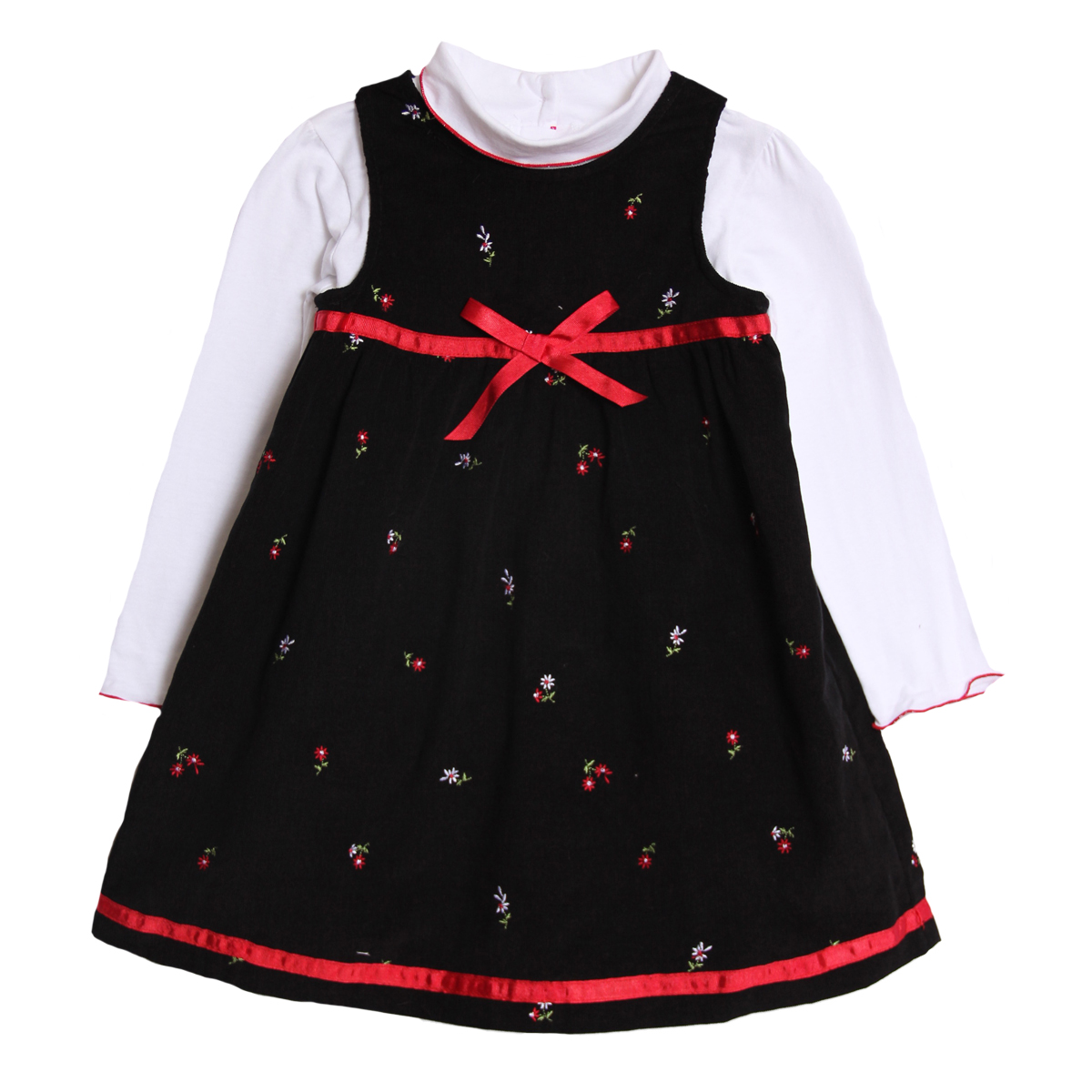 B.T. Kids Little Girls 2 Piece Black Corduroy Holiday Jumper Dress Turtleneck Top at Sears.com