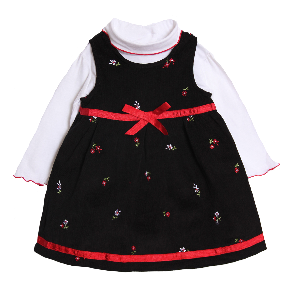 B.T. Kids Newborn Baby Girls 2 Piece Black Red Corduroy Holiday Jumper Turtleneck at Sears.com