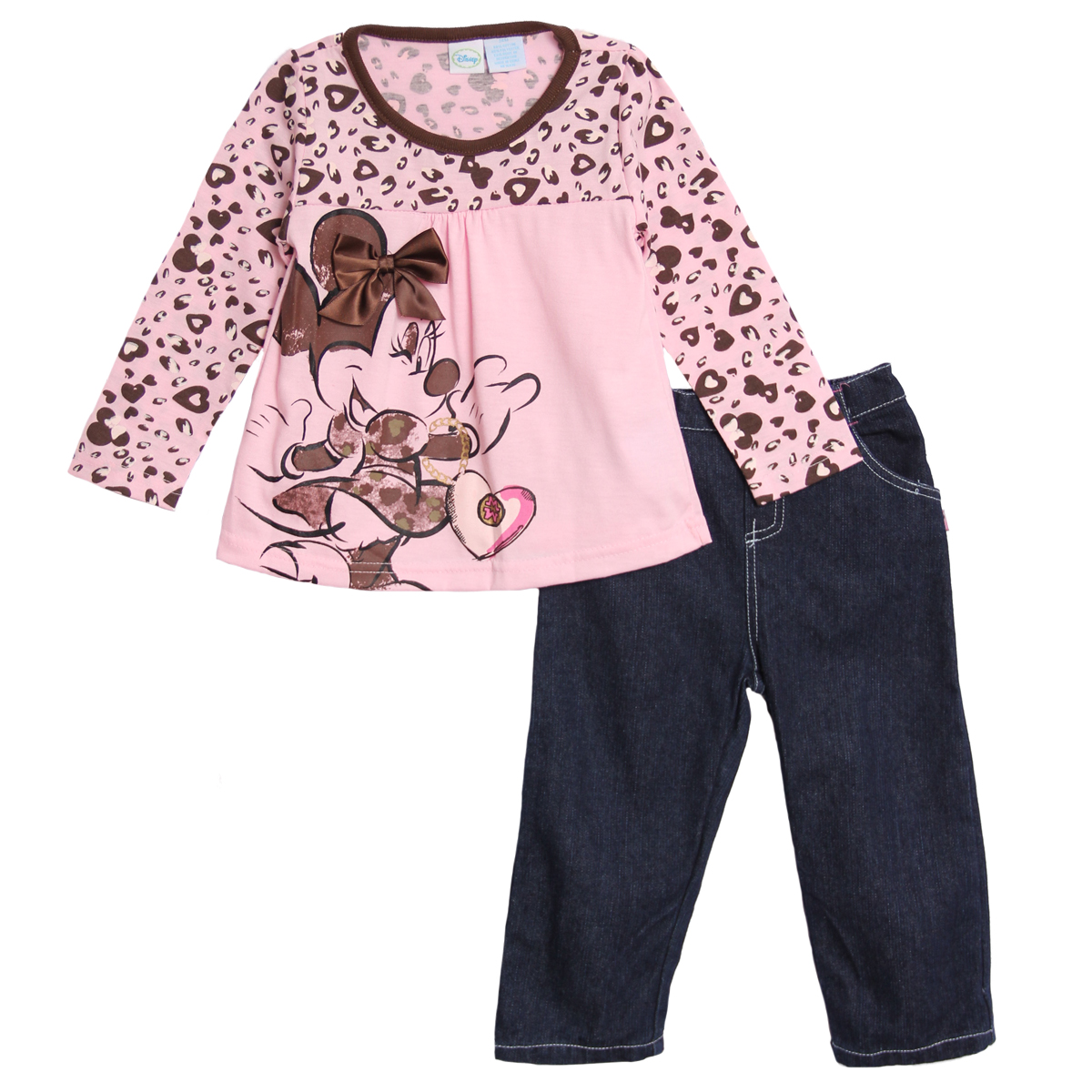 Disney Infant Baby Girls 2 Piece Pink Minnie Mouse Leopard Print Jeans Pants Set at Sears.com