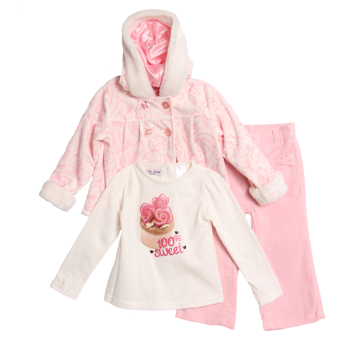 B.T. Kids Infant Baby Girls 3 Piece Pink Hooded Winter Coat Top Corduroy Pants at Sears.com