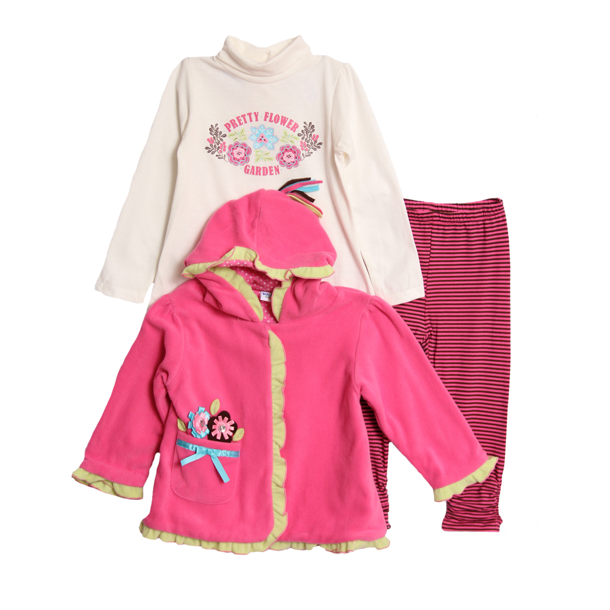 B.T. Kids Infant Baby Girls 3 Piece Pink Polar Fleece Jacket Shirt Leggings Set at Sears.com