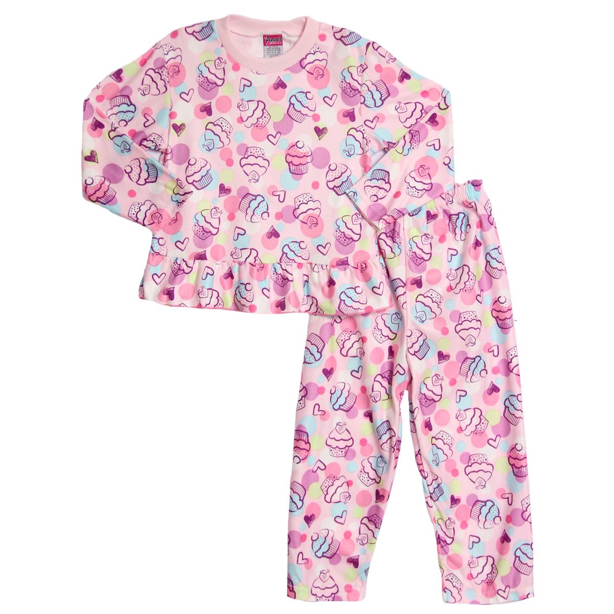 Angel Face Toddler Girls 2 Piece Pink Cupcake Flannel Pajama Shirt Pants Pjs Set at Sears.com