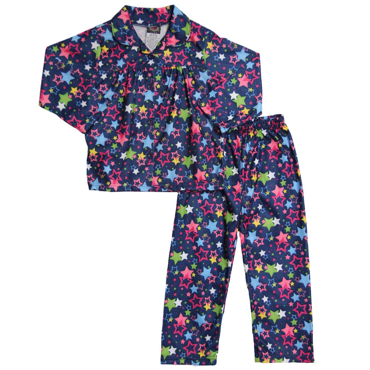Emanuel Ungaro Little Girls 2 Piece Navy Pink Star Flannel Pajama Shirt Pants Pjs Set at Sears.com