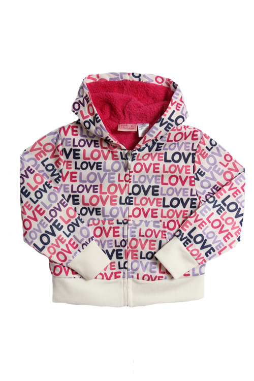 Pink Platinum Kid Girls Pink and Purple Love Sherpa Hoodie Winter Jacket at Sears.com