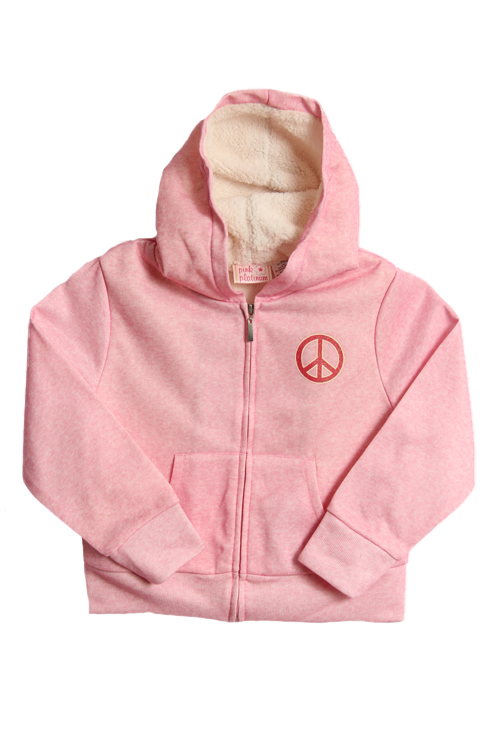 Pink Platinum Girls sherpa hoodie - pink peace at Sears.com
