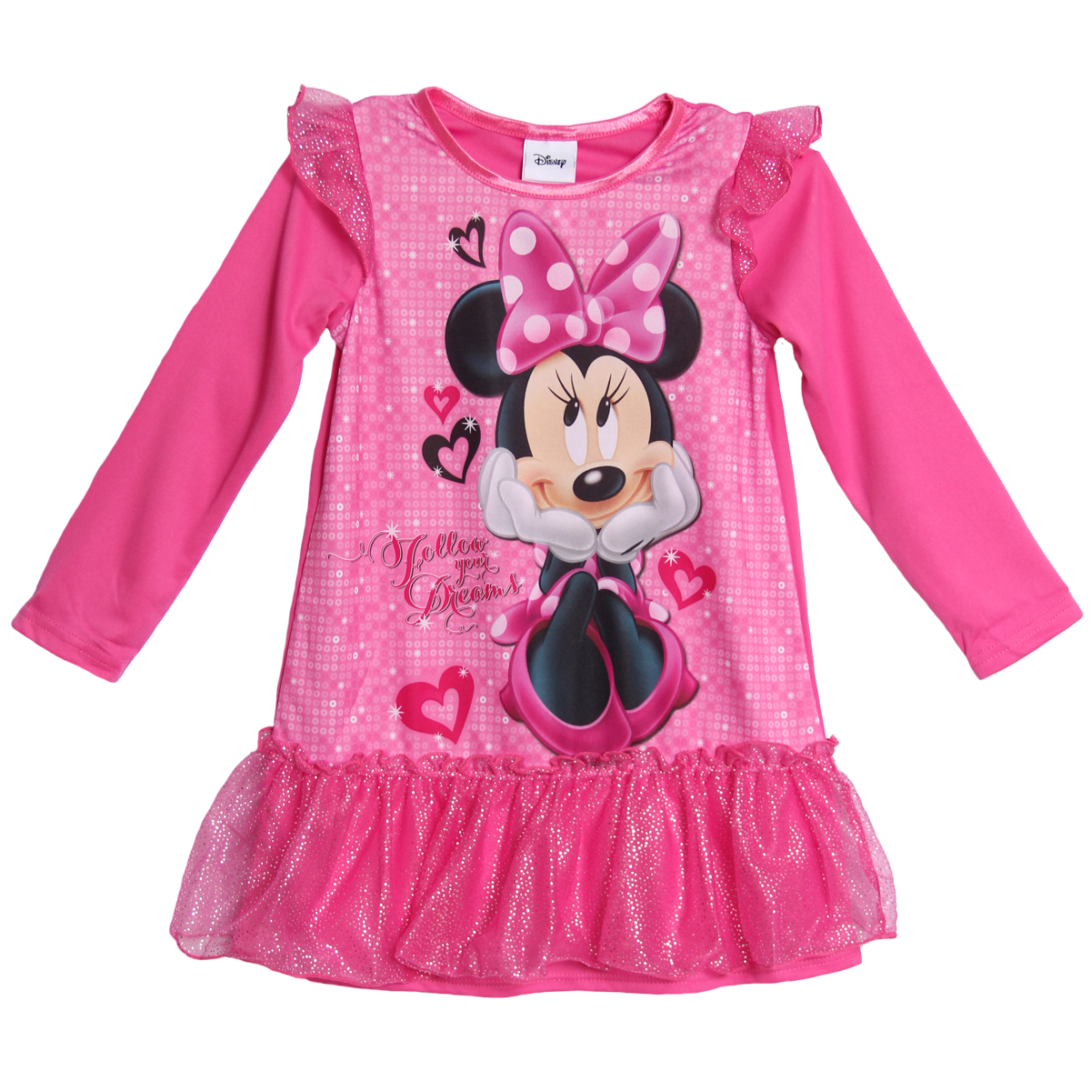 Disney Minnie Mouse Toddler Girls 1 Piece Pink Glitter Nightgown Sleepwear at Sears.com