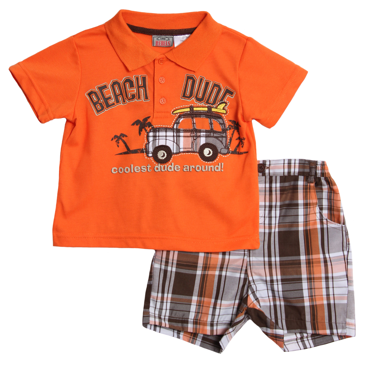 Little Rebels Infant Baby Boys 2 Piece Orange Navy Polo Shirt Plaid Shorts Set at Sears.com