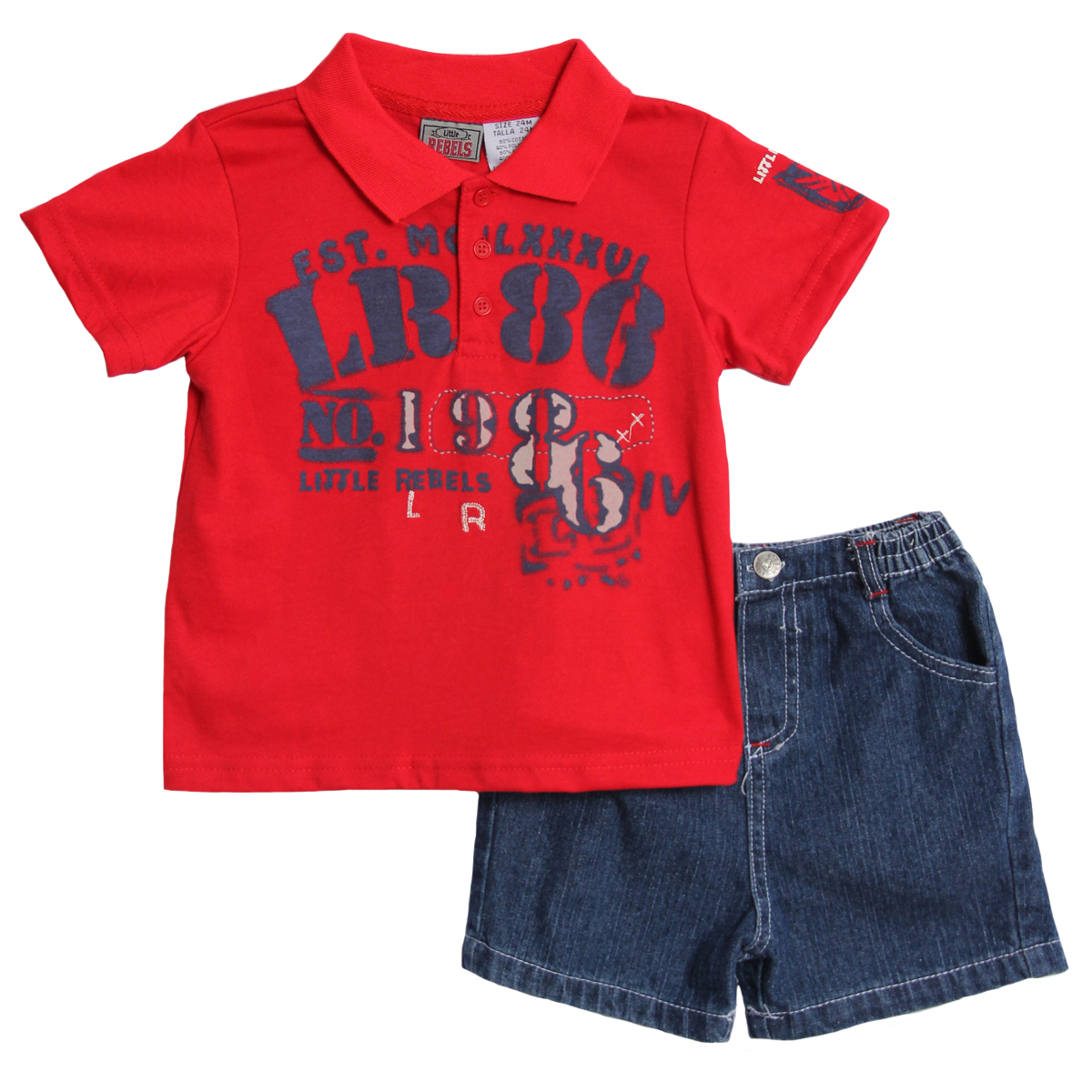 Little Rebels Infant Baby Boys 2 Piece Red Navy Polo Shirt Denim Jean Shorts Set at Sears.com