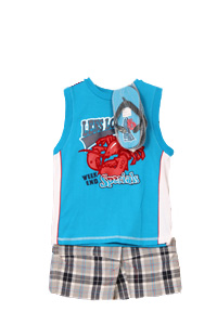 B. T. Kids Kid Boys 3 Piece Blue Lobster Shirt, Plaid Shorts and Flip Flops Set at Sears.com