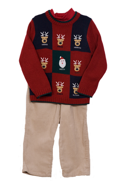 B. T. Kids Newborn Boys 3 Piece Red Christmas Sweater Turtleneck Corduroy Pants Set at Sears.com