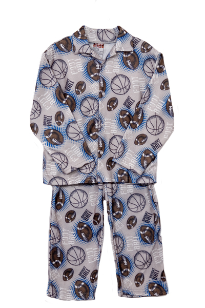 Tuff Guys Toddler Boys 2 Piece Grey Blue Football Flannel Pajamas Set at Sears.com