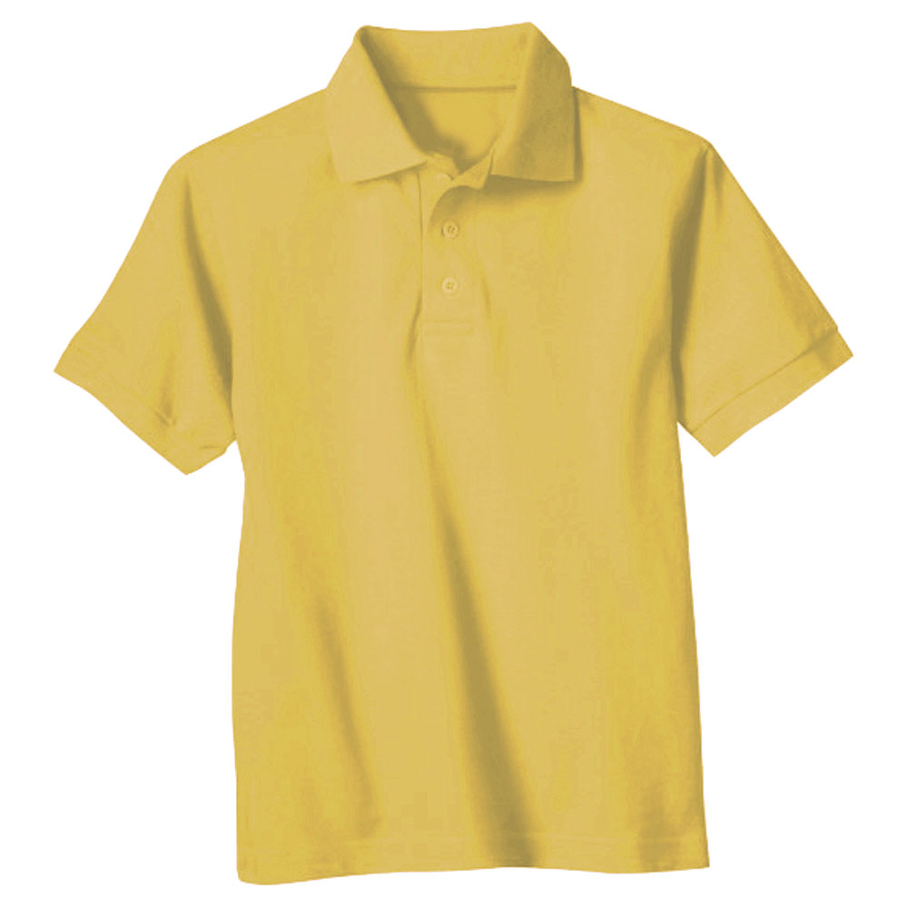 Genuine-School-Uniform-Young-Mens-Yellow-Short-Sleeve-Pique-Polo-Shirt