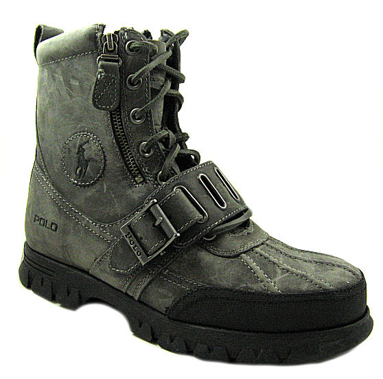 New-Polo-Ralph-Lauren-Mens-Andres-Gray-Black-Tie-Up-Boots-US-Sizes