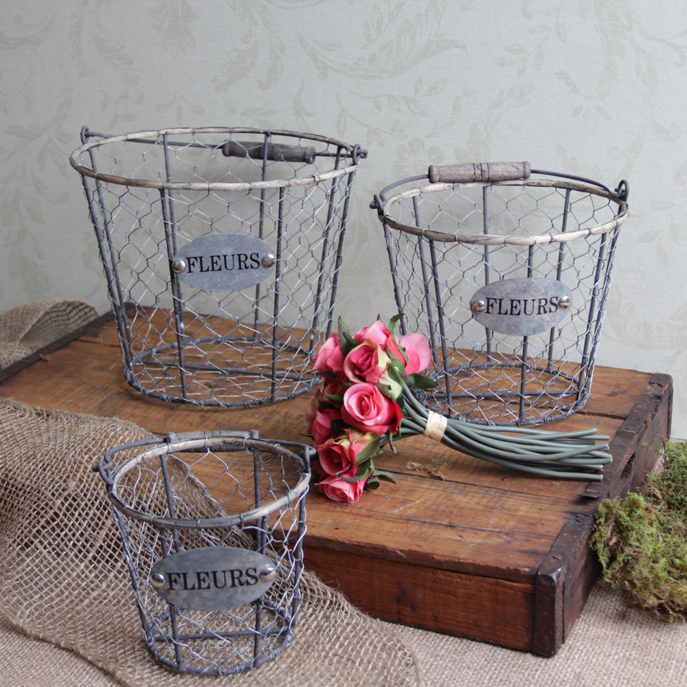 shabby cottage chic chicken wire storage baskets ebay. Black Bedroom Furniture Sets. Home Design Ideas