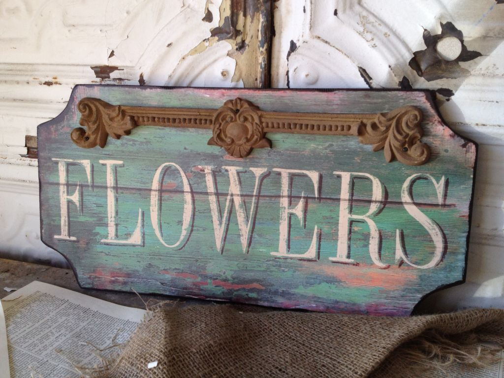 paris flower shop wooden sign shabby cottage chic wall art ebay. Black Bedroom Furniture Sets. Home Design Ideas