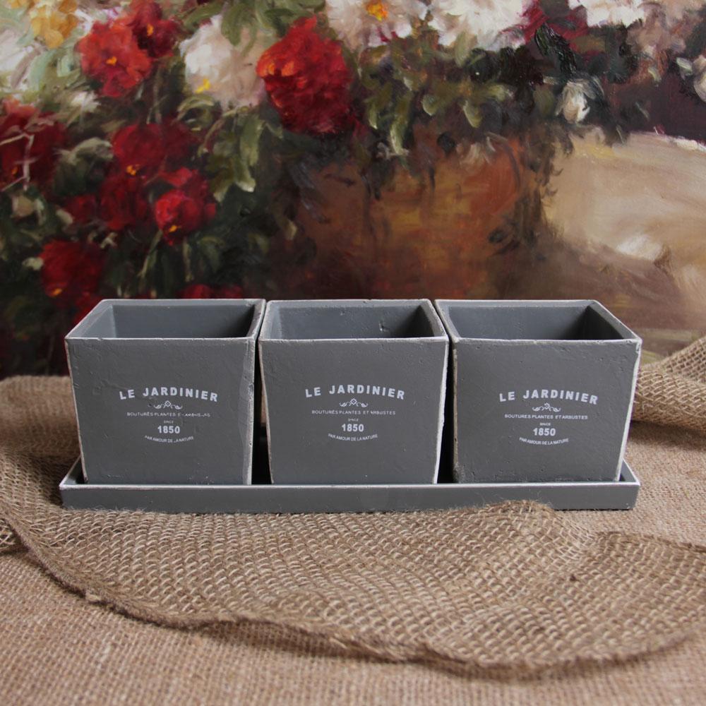 Paris french ceramic planter windowsill herb garden set ebay - Windowsill herb pots ...