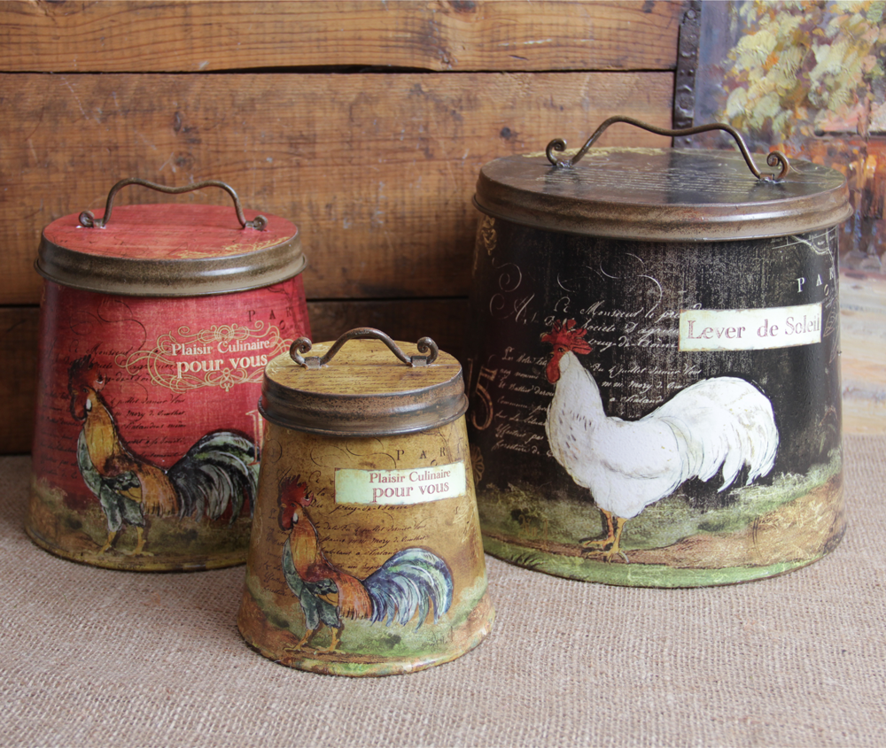 Shabby country chic rooster tin canister set home decor ebay for Kitchen decor items