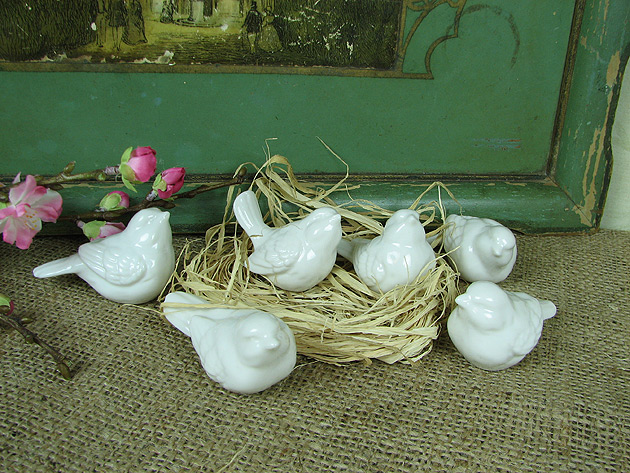 Shabby Cottage Chic White Ceramic Birds Home Decor | eBay