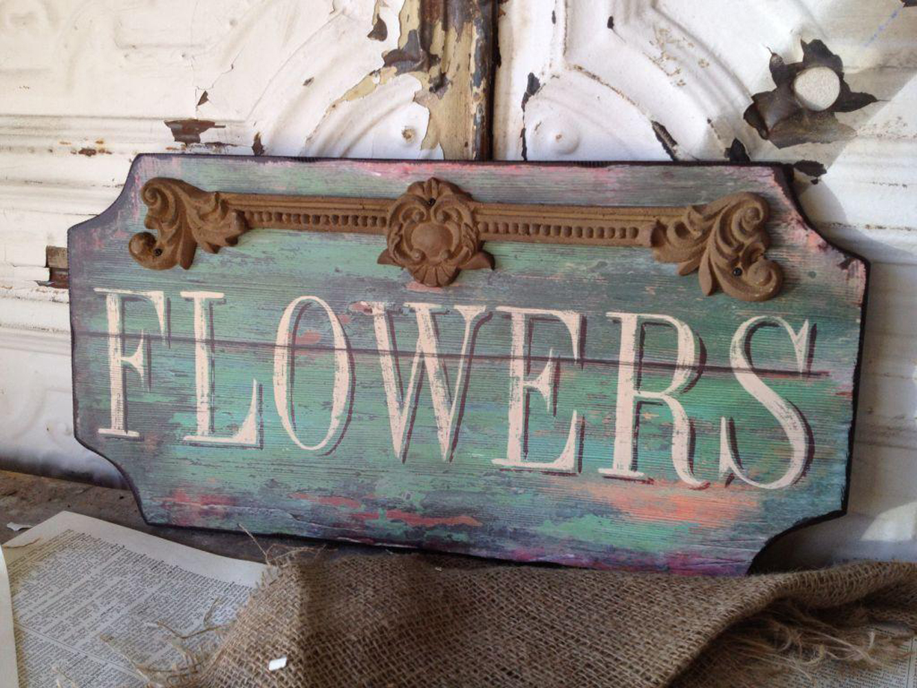 paris flower shop wooden sign shabby cottage chic wall art. Black Bedroom Furniture Sets. Home Design Ideas