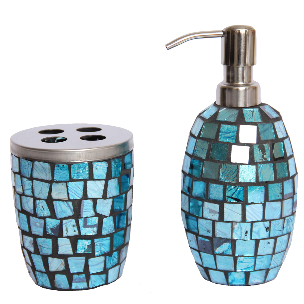 Turquoise mosaic glass bathroom accessory set lotion pump for Aqua colored bathroom accessories