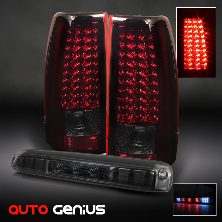 silverado sierra led red smoke tail lights smoked led third brake lamp. Black Bedroom Furniture Sets. Home Design Ideas