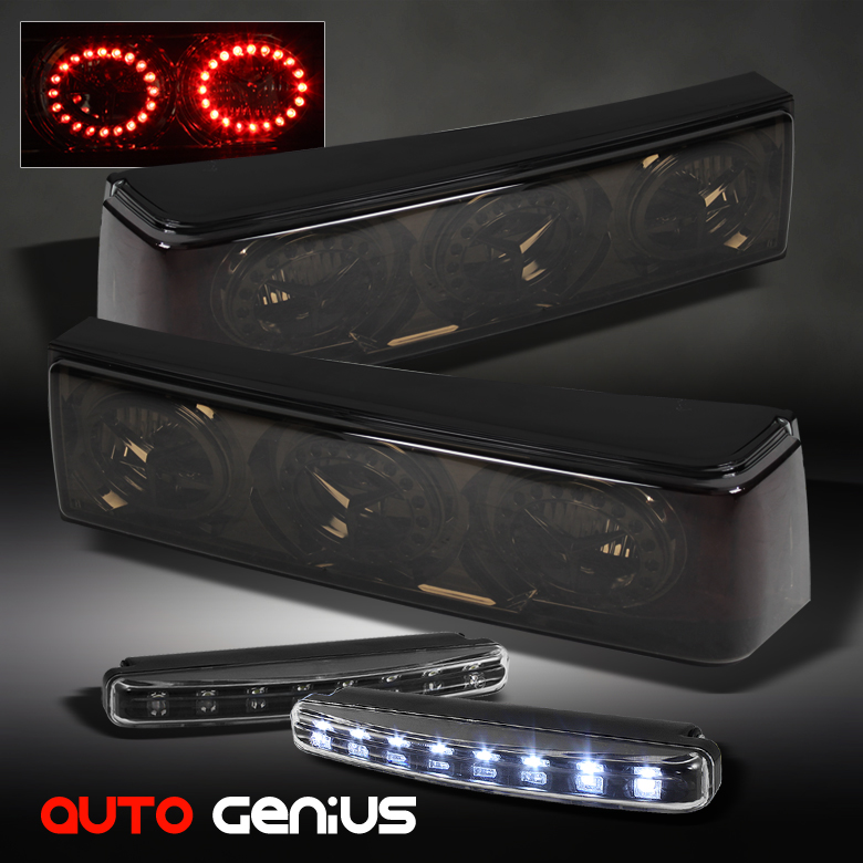 87 93 mustang smoked altezza tail lights w led ring. Black Bedroom Furniture Sets. Home Design Ideas